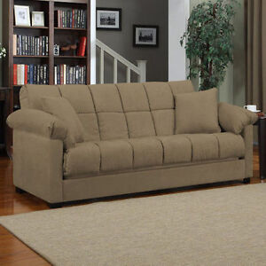 Mocha Sleeper Sofa Convertible Couch Full Bed Futon Living Room Furniture Guests