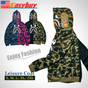 ca05f7e36f86 New Men s Shark Jaw Camo A Bathing Ape Full Zipper Hoodie Sweats ...