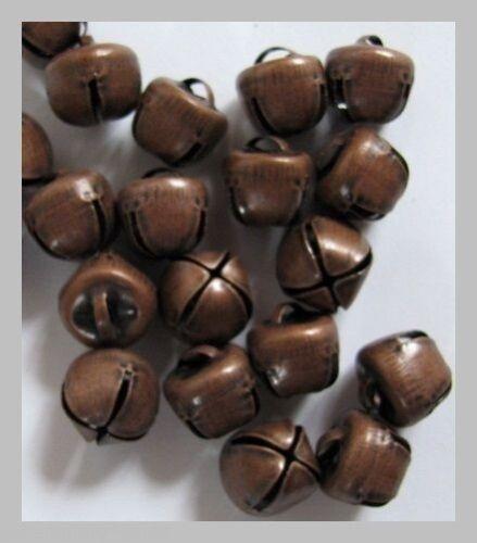 11 mm primitivo//Steampunk Lote de 25 antiguo acabado de cobre Jingle Bells 10 mm