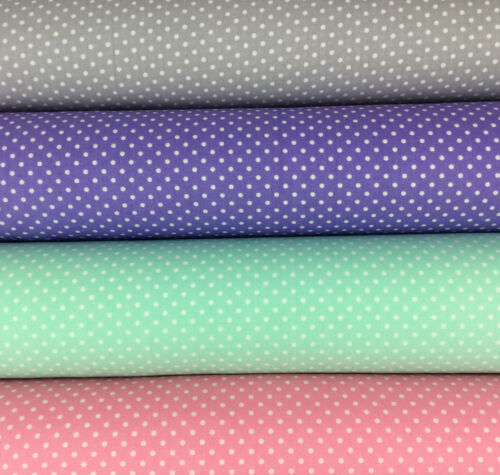 Lilac Pink silver grey Mint Navy Cotton Rose and Hubble White spotted fabric