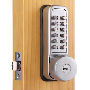 mechanical keypad security digital code door lock push button handle with keys ebay. Black Bedroom Furniture Sets. Home Design Ideas