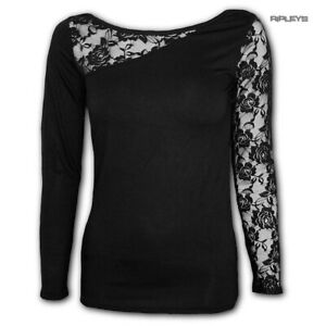 Spiral-Direct-Gothic-Elegance-Ladies-Plain-Black-L-SLEEVE-LACE-1-All-Sizes