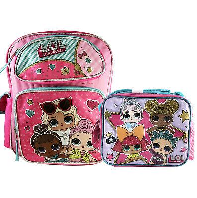 "Large 16/"" Backpack /& Lunch bag 2 pc LOL Pink Backpack New@@ L.O.L SURPRISE"