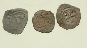 Lot-of-3x-AE14-15mm-coins-Italy-Kingdom-of-Sicily-BI-denaro