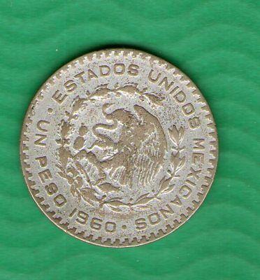 Mexico 1 Peso 1960 Big Sivler Coin Structural Disabilities Box 0003