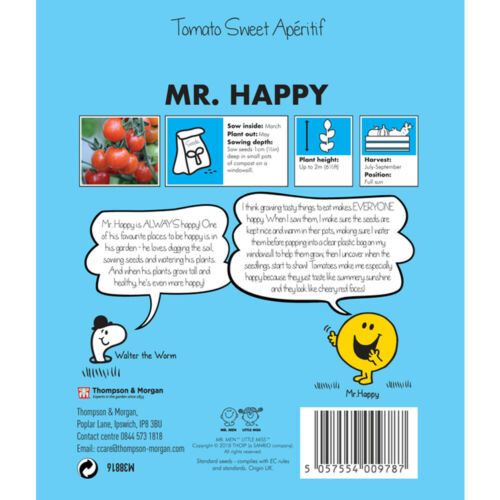 Mr Men Seeds Mr Happy Tomato /'Sweet Aperitif/' Vegetable 1 Packet 10 Seeds T/&M