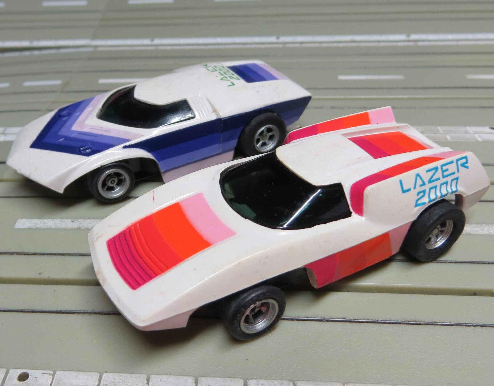 Für H0 Slotcar Racing Modelbahn -- 2 Lazer mit AFX Chassis, + 4 neue Schleifer