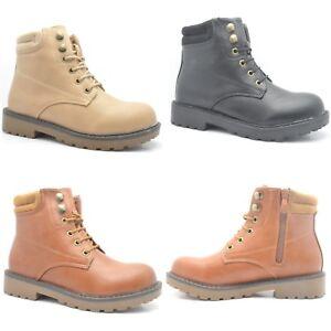 Mujer-Botas-Hasta-Tobillo-de-invierno-mujer-Militar-Combate-Plano-Agarre-sole