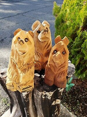 Carved Wooden Bears