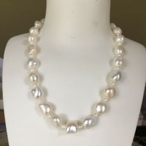 1cf60f4ed8649 Details about Huge freshwater 12~15mm Natural white Baroque pearl necklace  AAA luster 45cm