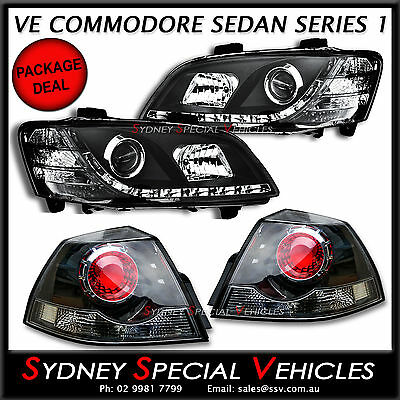 VE COMMODORE DRL HEADLIGHTS & SSV TAIL LIGHTS PACKAGE FIT OMEGA SV6 SS SSV SEDAN