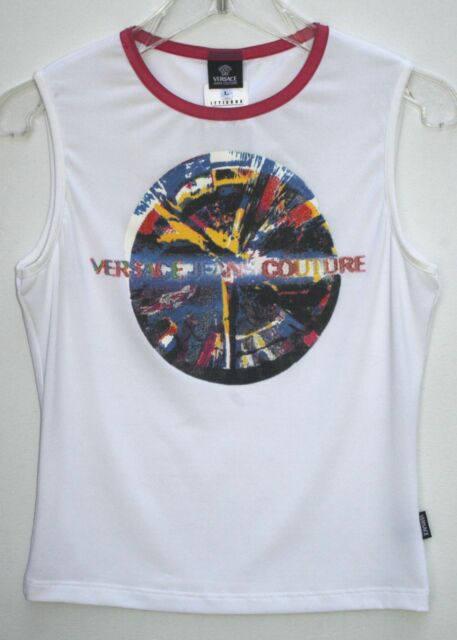 90e5ac4ef9d5 VERSACE JEANS COUTURE White T-Shirt. Silk-Screened Graphics Polyester. Large
