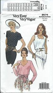 Vogue 8574 sewing pattern chic TOP lovely BLOUSE sew Scallops sizes 6-8-10 EASY!