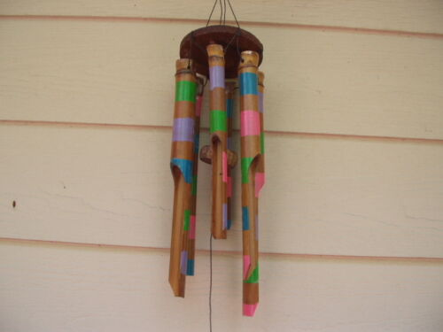 Painted Multi Color Stripes Wood Circle Top Bamboo Wind Chimes FREE SHIP