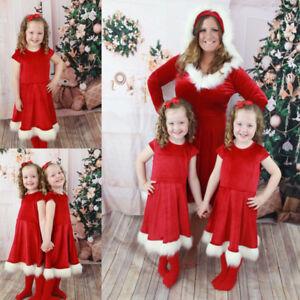 US-Christmas-Mother-Daughter-Dress-Santa-Velvet-Xmas-Family-Matching-Clothes