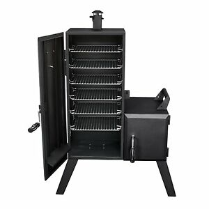 Image Is Loading Offset Smoker Vertical Charcoal Grill Cooker Wood Chip