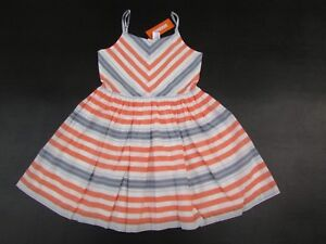 Gymboree-8-NWT-Girls-Cute-on-the-Coast-Coral-Blue-Chevron-Stripe-Dress-DK1