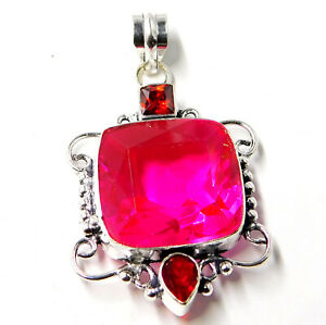Details about Pink Tourmaline Quartz Garnet Sterling Silver Plated Jewelry  Pendant 10 Gm-P99