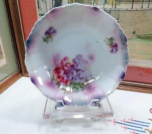 ANTIQUE-GERMAN-LUSTER-WARE-RED-amp-PURPLE-GRAPES-8-1-4-034-SERVING-BOWL-1880-1920