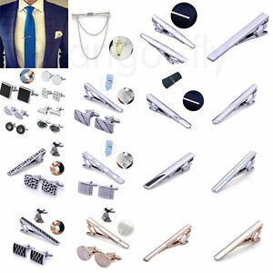 Men-039-s-Groom-Wedding-Cufflinks-and-Tie-Clip-Pin-Clasp-Bar-Set-Charm-Simple-Gift
