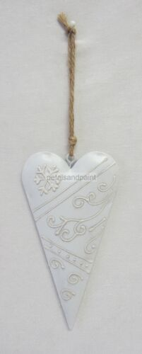 French Provincial Grey Metal Hanging Heart Mobile Decoration With Snowflake