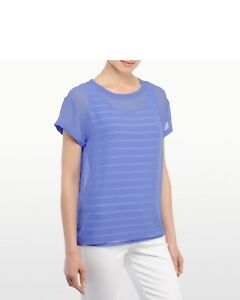 NWT-NYDJ-Women-039-s-Veiled-Layers-Tee-Top-Sky-Blue-Size-LARGE