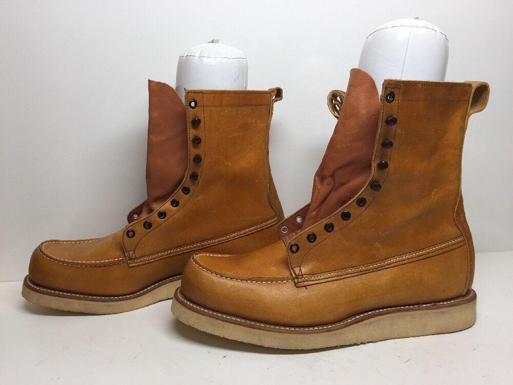 Nuevo con defectos Vintage para Hombre de Cuero Rojo WING trabajo marrón claro botas e defectos