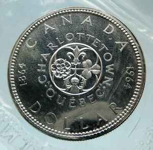 1964-CANADA-Quebec-Charlottetown-Antique-Genuine-BIG-SILVER-Dollar-Coin-i75233