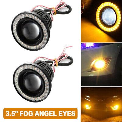 "3.5/"" Multimode LED Fog Light Projector Driving Lamp COB Angel Eye Halo Kit Amber"