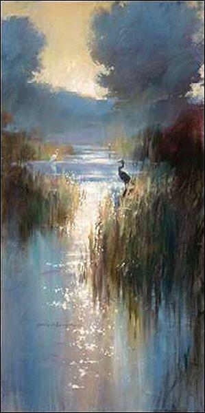 Brent Heighton  Peaceful Everglades II Keilrahmen-Bild Leinwand Bäume See Reiher