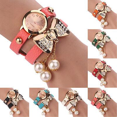 Women Rhinestone Bowknot Imitated Pearl Bracelet Quartz Faux Leather Wrist Watch