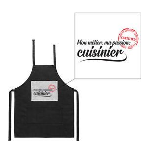 Tablier noir de cuisine barbecue métier passion soudeur imprimé