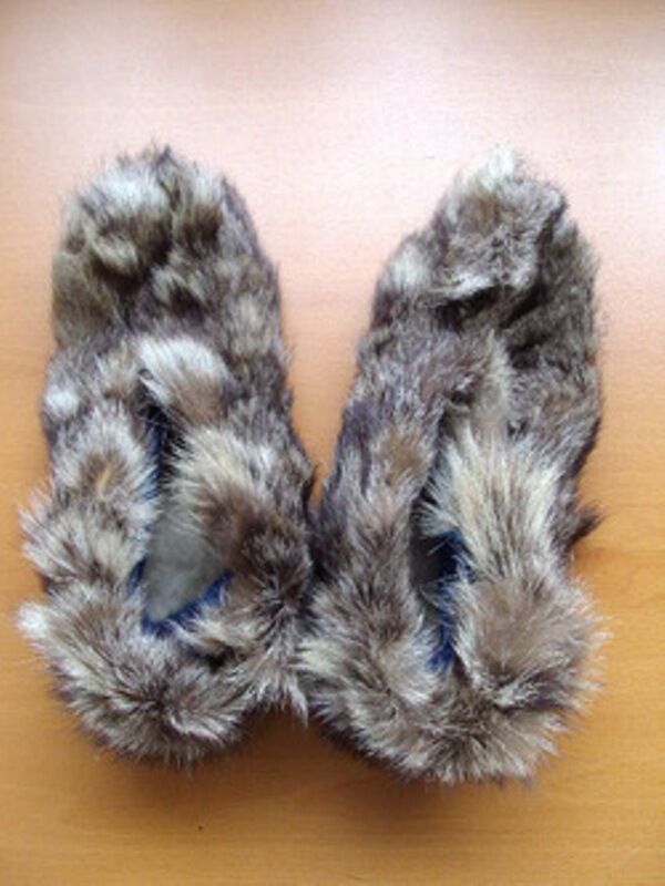 NEW RACCOON RACOON FUR SLIPPERS Scarpe Donna WOMAN SIZE 5