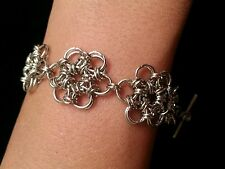 Handmade Japanese flower silver chain maille bracelet. NWOT custom sizes