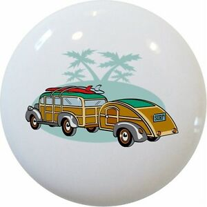 WOODY Surf Wagon Ceramic CABINET Drawer Pull KNOB