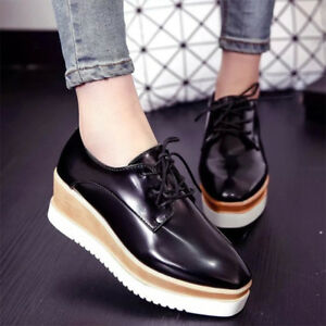 84804f80d53 Womens Wedge Mid Heels 6CM Platform Lace Up Brogue Oxford Flats ...