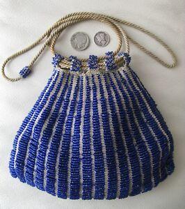 Periods & Styles Antique Tan Crochet Knit Cobalt Blue Bead Satin Lining Drawstring Purse Art Deco