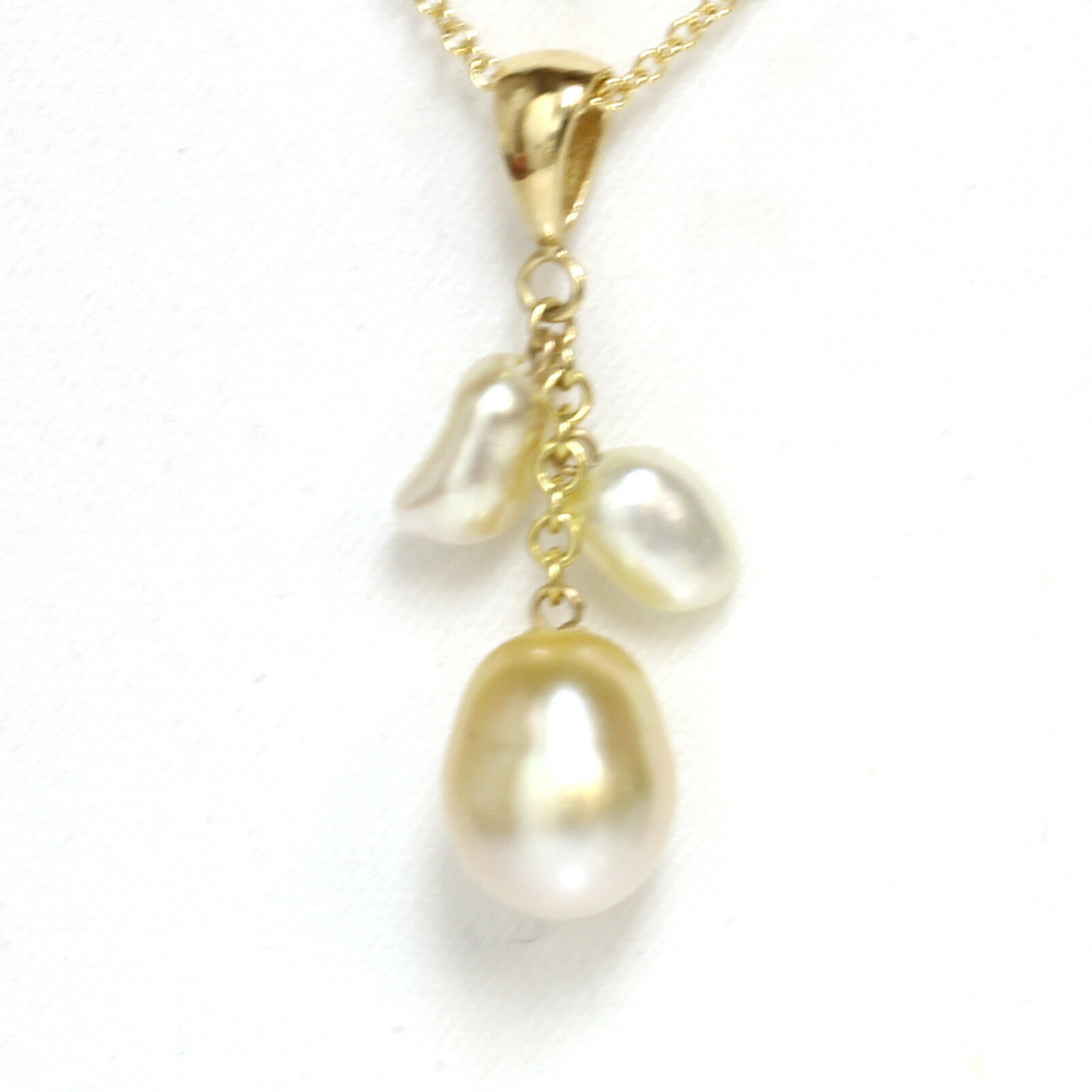 Pacifico Pacifico Pacifico Oceano Keshi Perla Ciondolo 14k oro Giallo Champagne 37987b