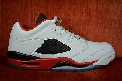 new arrivals 2a0de 4ac55 WORN TWICE Air Jordan 5 Retro Low Fire Red Size 10.5 819171-101 Black White  | eBay