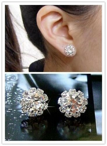 New Women Fashion Clear CZ Crystal Rhinestone Silver Plated Ear Stud Earrings