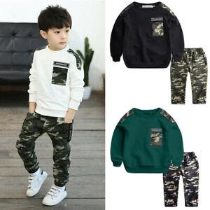 Children Kids Baby Boys Letter Tracksuit Camouflage Tops Pants 2PCS Outfits Set