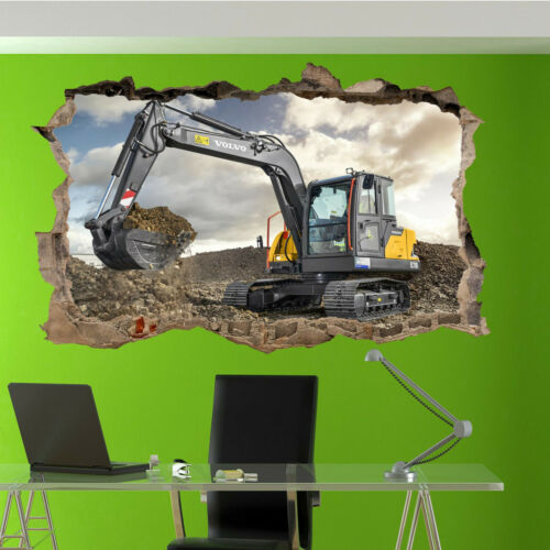 Heavy Work Machine Digger Excavator Wall Sticker Transfer Mural Decal Poster RT2