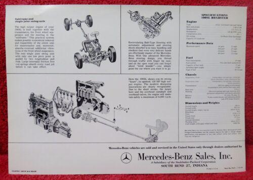 Vintage 1960s Mercedes 190SL Roadster Sales Brochure Flyer w// Spec Sheet