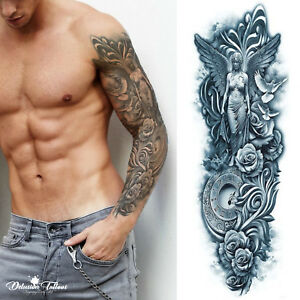 Temporary Tattoo Sleeve Angel Greek Mythology Clock 3d Waterproof