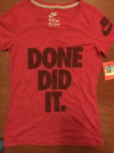 Nike Womens Medium M Tee Shirt V Neck Done Did It New Slim Fit Done ... 7d7f5c24ba