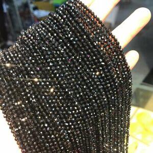 1 Strand Natural Black Crystal Facet Loose Beads 2,2.5,3mm//15.5inch QA20