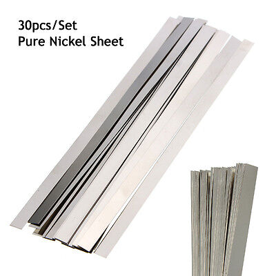 30PCS Pure Nickel 99.96% Low Resistance Ni Metal Strap Sheet Set 0.1mm*4mm*100mm