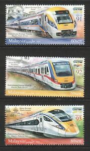 MALAYSIA-2018-RAILWAY-ELECTRIC-TRAIN-SERVICE-COMP-SET-OF-3-STAMPS-IN-MINT-MNH