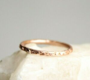 Copper-Ring-Stackable-Hammered-Rings-band-Size-10-Wedding-Promise-Ring-Unisex