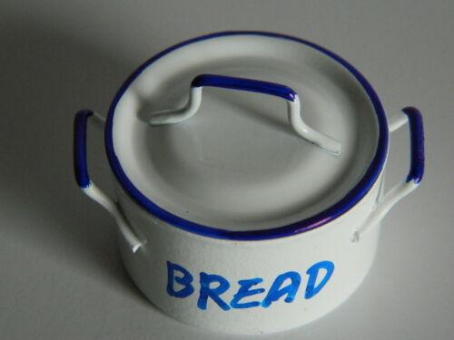KP1-10 Maison de Poupées Métal Émail Blanc Style Bread Bin